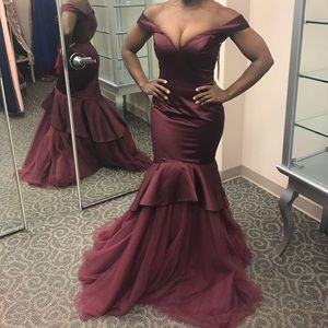 Wine colored fitted pageant prom or evening gown